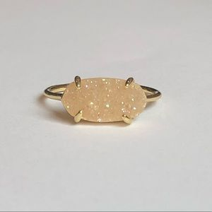 Jewelry - Petite Champagne Drusy and 18k Gold Ring Size 8